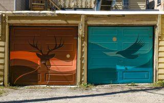 Photo of 2 paintings on garage doors
