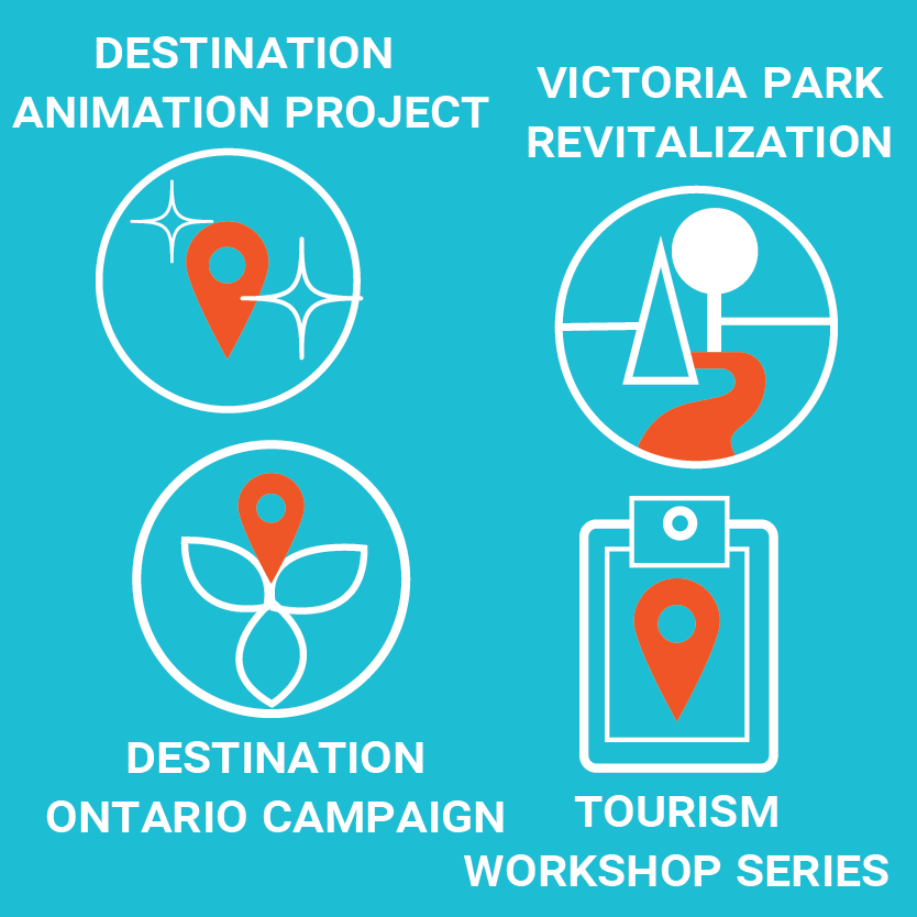 Destination animation project, victoria park revitalization, destination ontario campaign and tourism workshop series illustration.