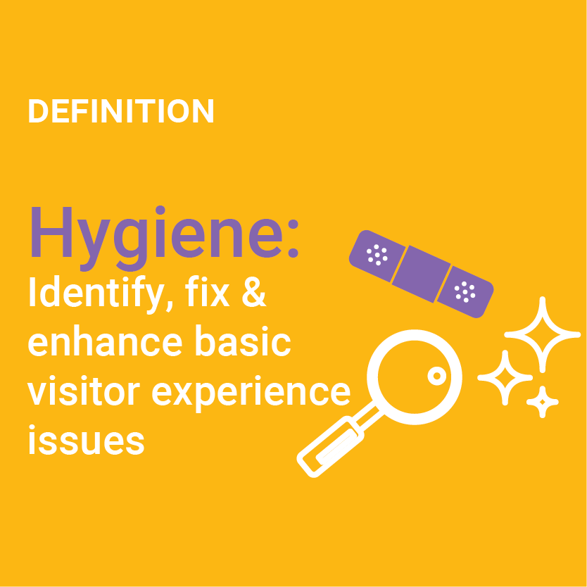 Definition of Hygiene: Identify, fix and enhance basic visitor experience issues illustrator