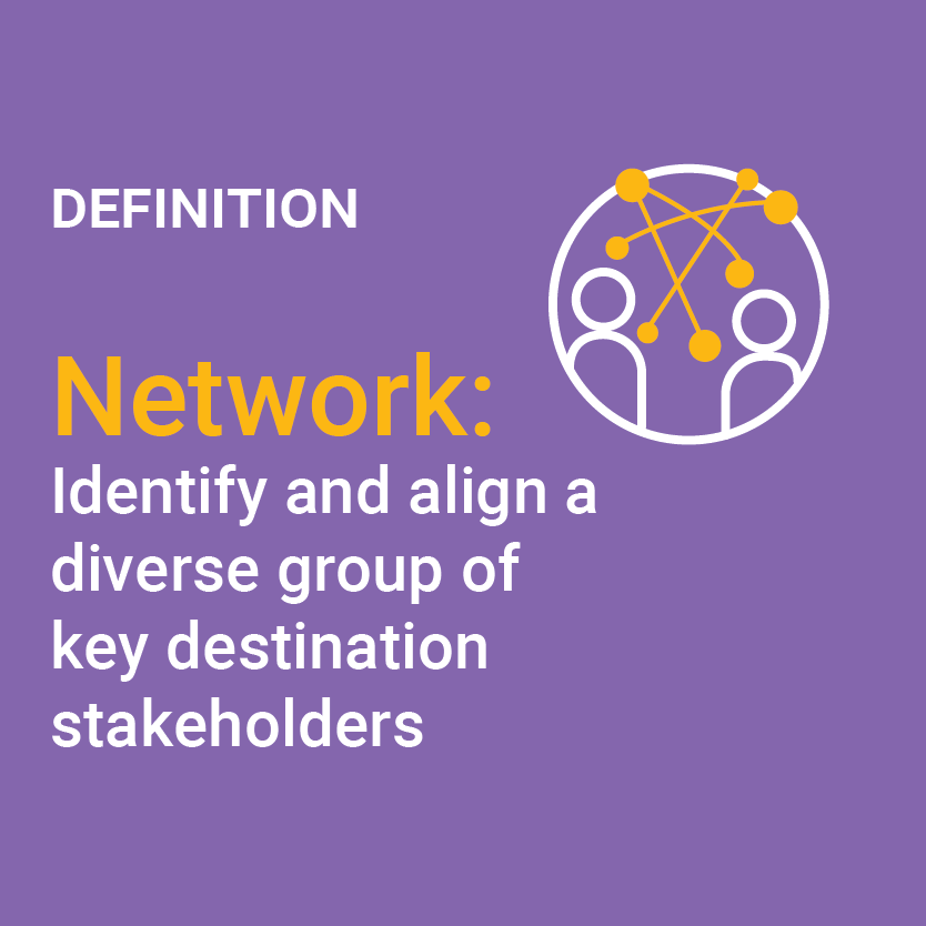 Definition of Network: Identify and align a diverse group of key destination stakeholders