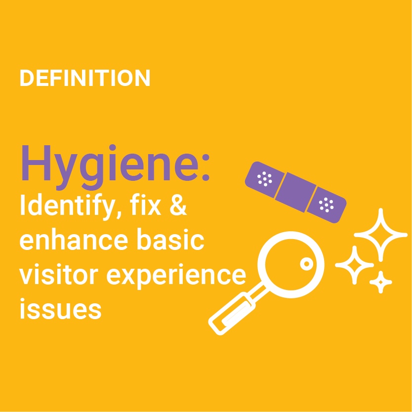 Definition of Hygiene: Indentify, fix and enhance basic visitor experience issues
