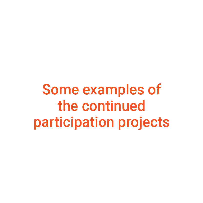 Some examples of the continued participation projects illustration