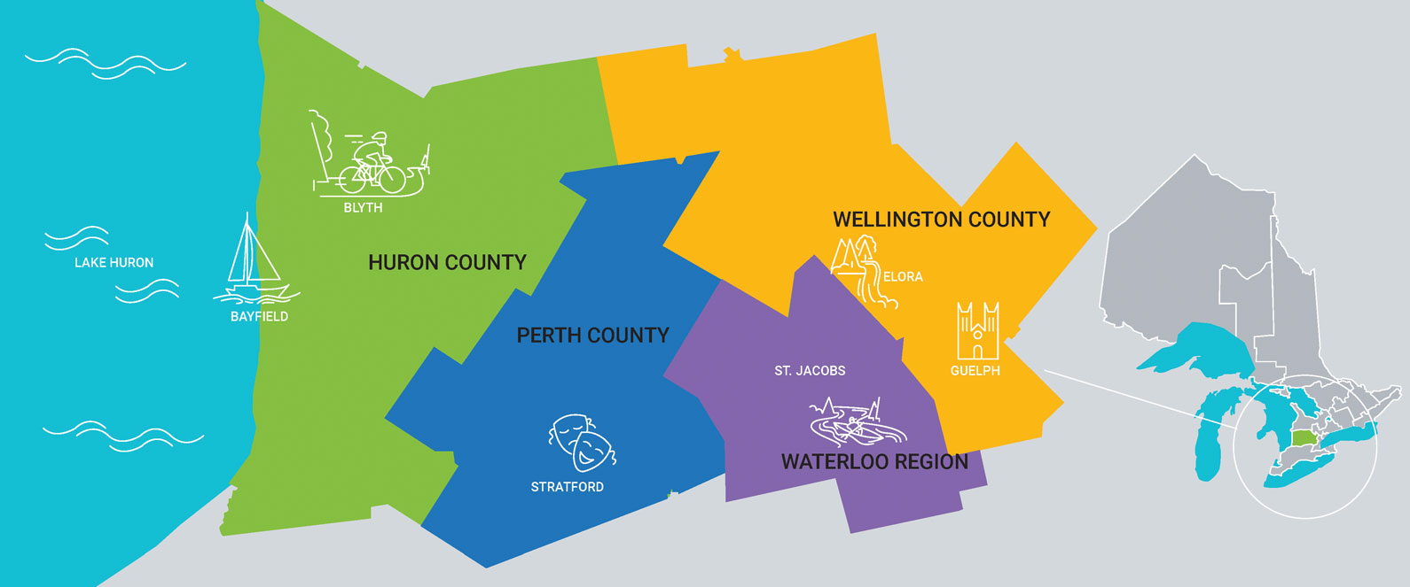 RTO4 Coverage Map Showing Huron County, Perth County, Waterloo Region and Wellington County